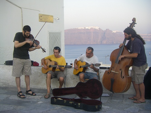 Busking in Santorini with our quartet in Summer 2011