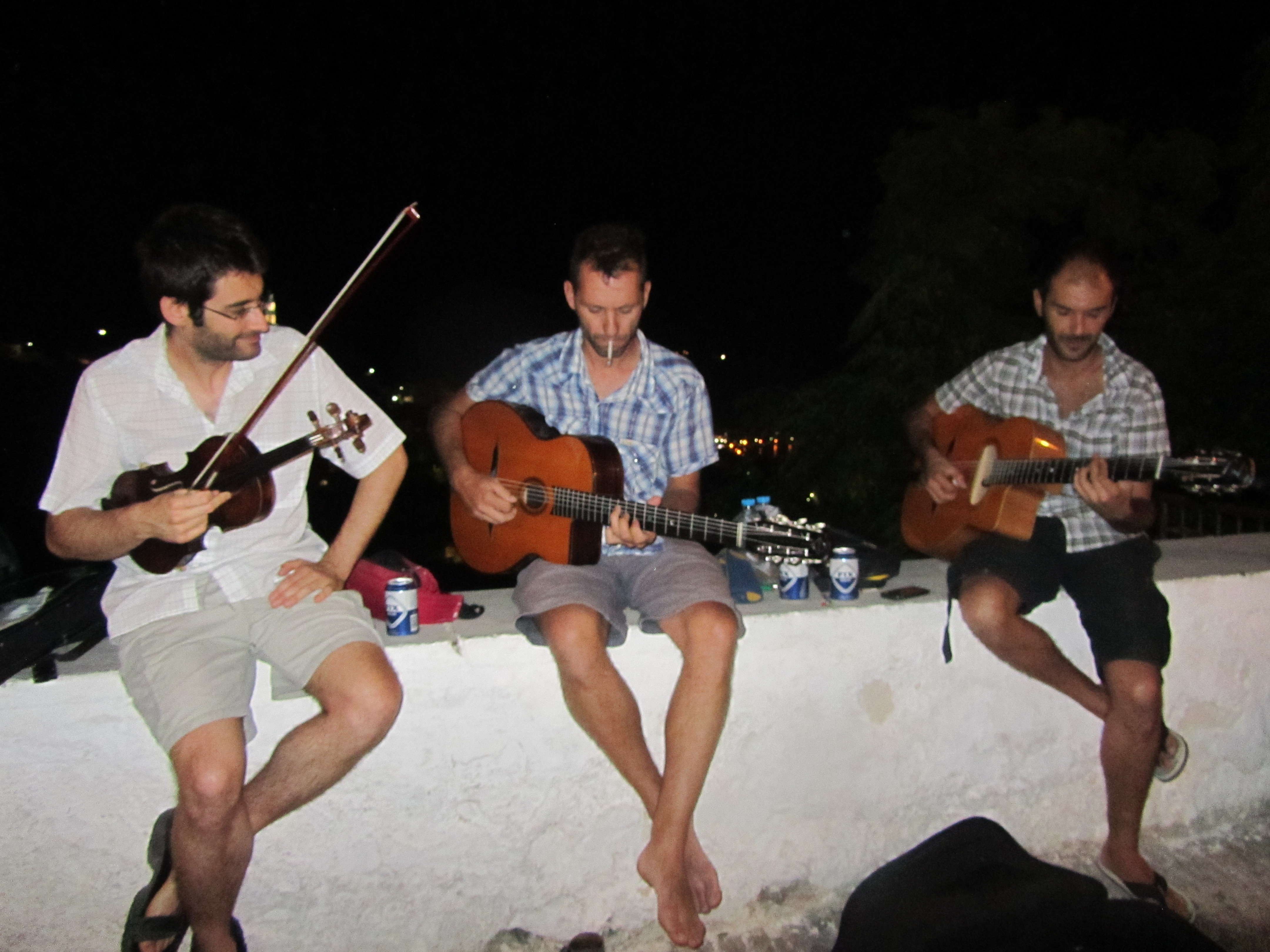 Busking on the island of Syros with good friends Manolis and George