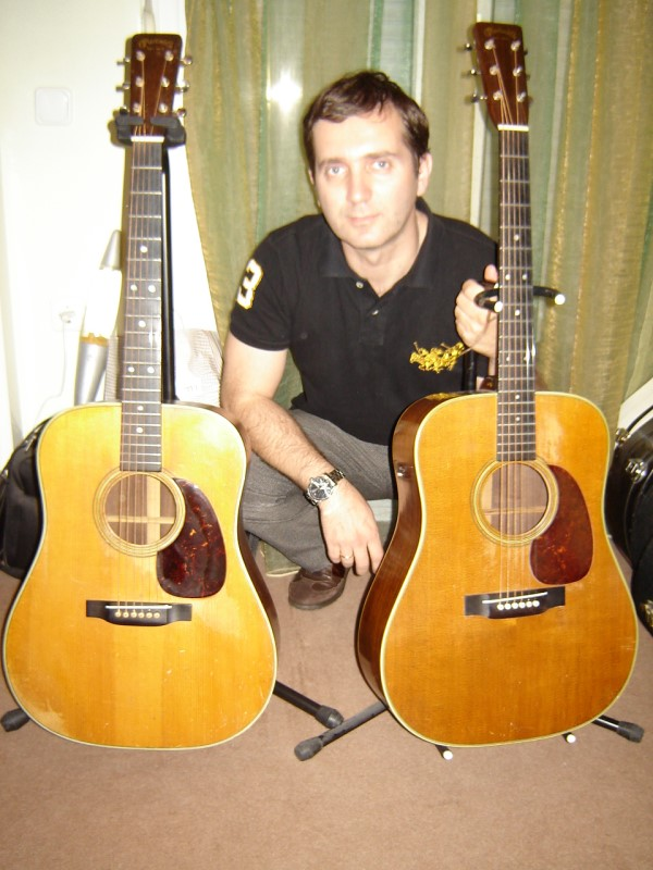 Yiannis Gougourelas with two of his great guitars
